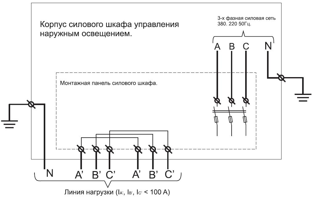 схема электрическая подключения силового шкафа управления наружным освещением